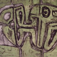 George Wallace - Joined Forms, 1956, etching & deep etch with surface rolled in green