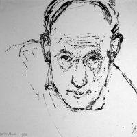 George Wallace - Self Portrait, 1950, ink