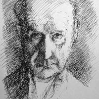 George Wallace - Self Portrait, 1972, ink