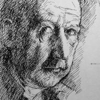 George Wallace - Self Portrait, c.1972, ink