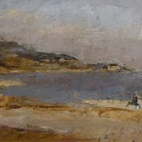 George Wallace - Killiney Strand Looking Toward Dalkey, 1946, oil painting on board