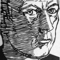 George Wallace - Self Portrait, 1974, woodcut