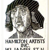 George Wallace, Sculpture & Graphics Exhibition Poster - Hamilton Artist's Inc., 1983, woodcut