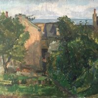 George Wallace - Backgarden, 14 Woodlane, c.1952, oil painting on plywood panel