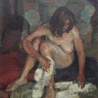 George Wallace - Woman Drying Herself, 1948, oil painting on canvas