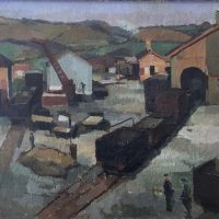 George Wallace - The Station Yard, Penryn, 1949, oil painting on canvas