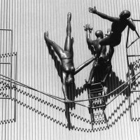 George Wallace - The Balancing Act, 1980, bronze, Halton County Courthouse, Ontario
