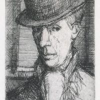 George Wallace - Man in a Bowler Hat, 1947, etching