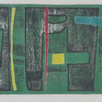 George Wallace - Dark Green Cliff, 1955, soft ground & deep etch, dark green proof with colour overlays