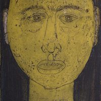 George Wallace - Prisoner (Yellow Face), 1955, soft ground & deep etch, dark green and yellow relief
