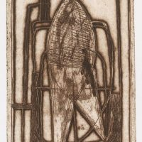 George Wallace - Woman in a Bath, 1956, etching & deep etch, brown ochre version