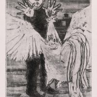George Wallace - Peter and the Cock, 1956, soft ground aquatint & drypoint