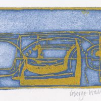 George Wallace - Pit Workings, 1956, deep etch, (1982 pull, blue/grey intaglio with yellow/orange relief)