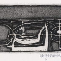 George Wallace - Pit Workings, 1956, deep etch, black and white relief