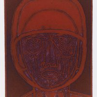 George Wallace - Man in a Helmet #2, 1956, deep etch & aquatint, (1988 pull, purple intaglio rolled in scarlet)