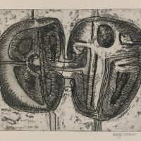 George Wallace - Joined Forms, 1956, etching & deep etch and worked into with pen