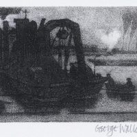 George Wallace - Dredger Bristol Harbour, 1948, drypoint