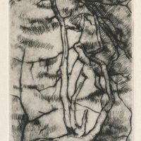 George Wallace - Old Holly Tree, 1948, drypoint
