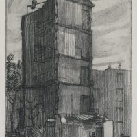 George Wallace - Bombed Hotel in Eastbourne, 1950, etching and aquatint