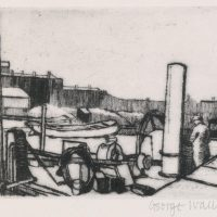 George Wallace - Dredger in Falmouth Harbour, 1951, sandpaper aquatint