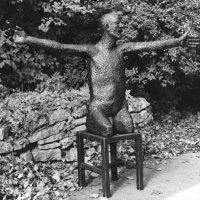 George Wallace - Legless Man on a Stool (first version), 1975, welded steel