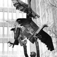 Man Releasing Eagles (Carey Fox Memorial), 1973, welded corten steel