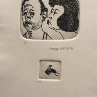 George_Wallace - A Disagreement, decoration on inside fold, 1995, etching