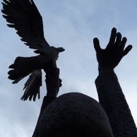 George Wallace - Noah Releasing the Raven, 1985, welded corten steel