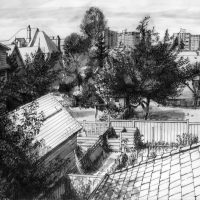 George Wallace - View from Back Garden of Huntington Place, ink and wash