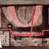 George Wallace - Clay Pit, 1955, etching, aquatint & drypoint, with red and pink overlays