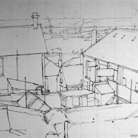 George Wallace - Backs of Houses, Falmouth, c.1950, pencil and ink