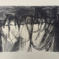 George Wallace - Clay Pit Face, drypoint, 2nd state worked over with pen and ink in 1992