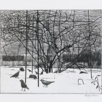 George Wallace - Forsythia in the Snow, 1993, etching