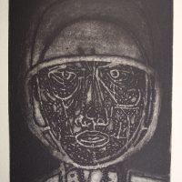 George Wallace - Man in a Helmet #2, 1956, deep etch & aquatint