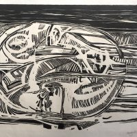 George Wallace - Pit, date unknown, woodcut