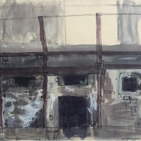 George Wallace - Abandoned Kilns at Avoca, 1957, ink and watercolour
