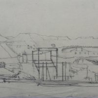 George Wallace - Disused Mine at Avoca, c.1953, pencil