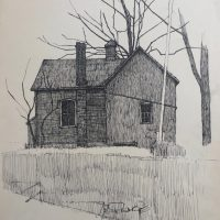 George Wallace - The Old Barn at Governor's Road Back Garden, ink