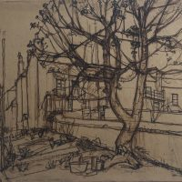 George Wallace - Back Garden, 14 Woodlane, Falmouth, c.1952, ink and sepia
