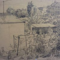George Wallace - Back Yards, Woodlane, Falmouth, 1954, pencil