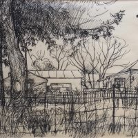 George Wallace - Backyard, North End of Hamilton, c.1960, pen & ink