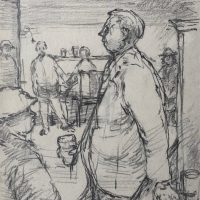 George Wallace - Pub Gathering, Hamilton, c.1963, graphite