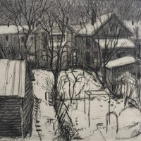 George Wallace - Back Yards, Brunswick Avenue Toronto, 1958, charcoal