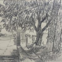 George Wallace - Cemetery Gate, Falmouth, 1948, pencil