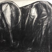 George Wallace - Twin Forms, 1984, charcoal #1