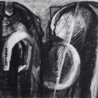 George Wallace - Crumbling Pit Workings, 1986, charcoal and white chalk #19