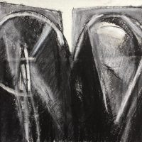 George Wallace - Twin Forms, charcoal and white chalk #22,