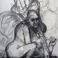 George Wallace - Study for a painting, c.2002, charcoal
