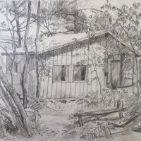 George Wallace - The Summer Cottage, pencil