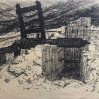 George Wallace - Derelict Ore Crusher Cornwall, c.1952, ink and conte